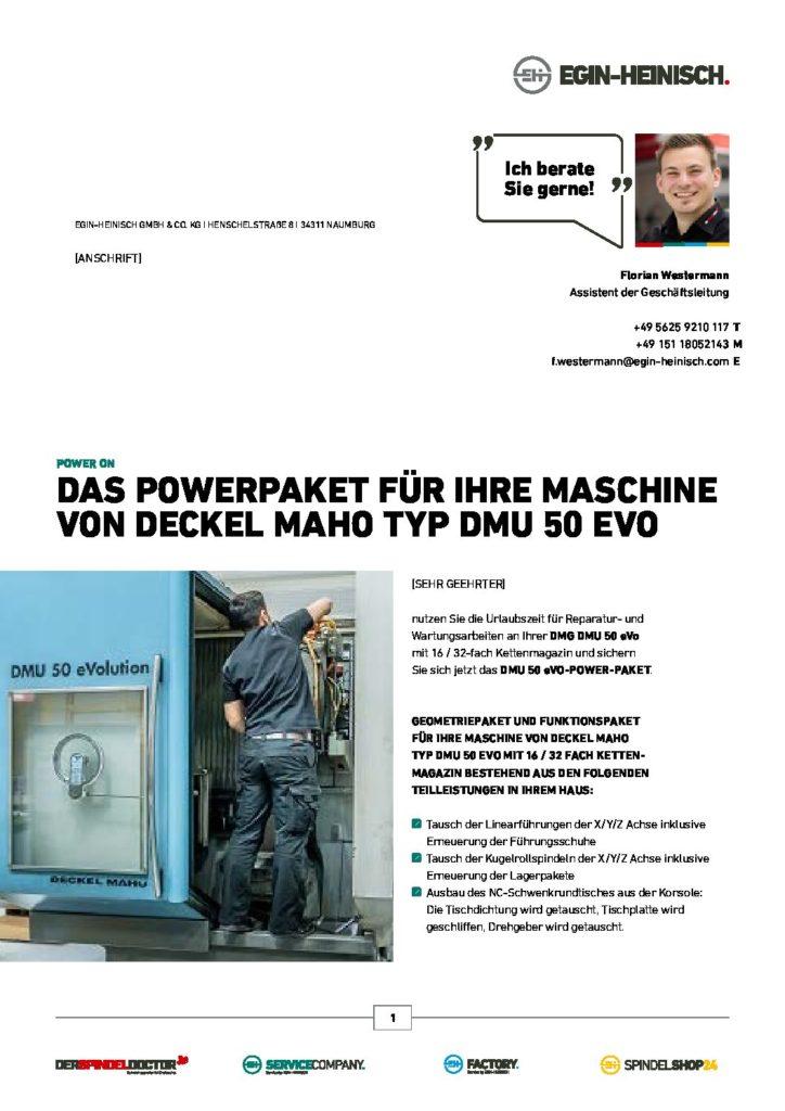 POWER ON – DAS POWERPAKET für Ihre Maschine von Deckel Maho Typ DMU 50 eVO